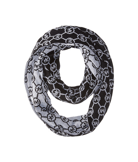 Accesorii Femei Michael Kors Jet Set Logo with Lurex Small Infinity Scarf BlackPearl Heather GreySilver