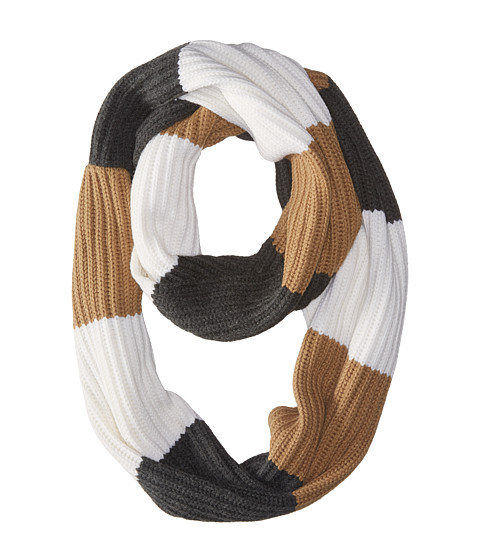 Accesorii Femei Michael Kors Fisherman Rugby Multicolor Large Infinity Scarf Dark CamelCreamDerby