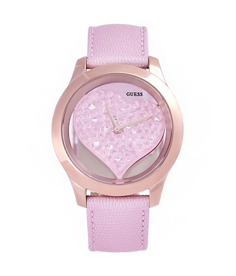 Ceasuri Femei GUESS Pink and Rose Gold-Tone Clear Heart Watch no color