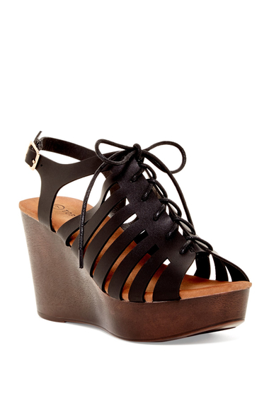Incaltaminte Femei Top Guy Ember Platform Wedge Sandal BLACK