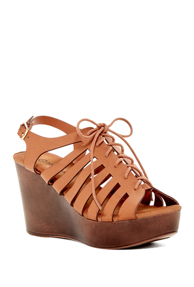 Incaltaminte Femei Top Guy Ember Platform Wedge Sandal TAN