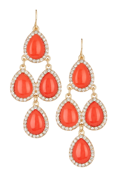 Bijuterii Femei Natasha Accessories Crystal Framed Chandelier Earrings ORANGE