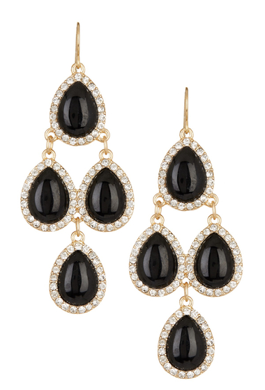 Bijuterii Femei Natasha Accessories Crystal Framed Chandelier Earrings BLACK