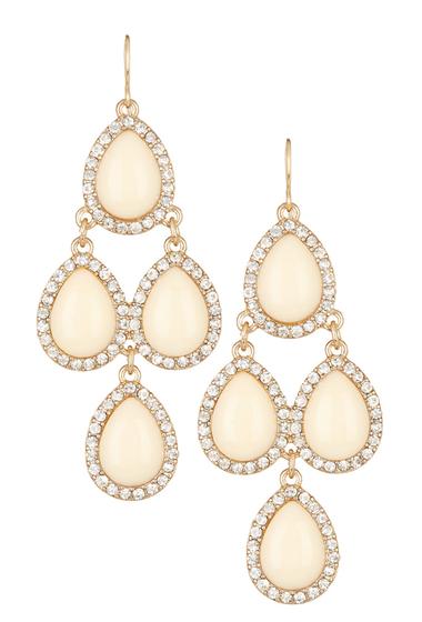 Bijuterii Femei Natasha Accessories Crystal Framed Chandelier Earrings IVORY