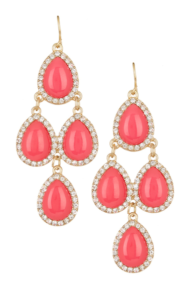 Bijuterii Femei Natasha Accessories Crystal Framed Chandelier Earrings FUCHSIA