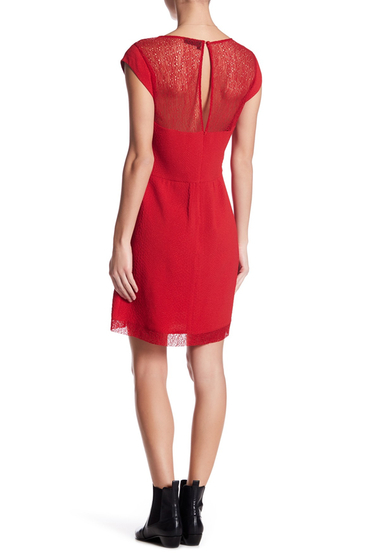 Imbracaminte Femei The Kooples Lace Yoke Embossed Dress RED POPPY