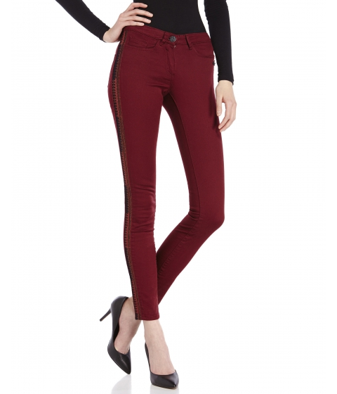 Imbracaminte Femei Maison Scotch Wine Embroidered Skinny Jeans Wine
