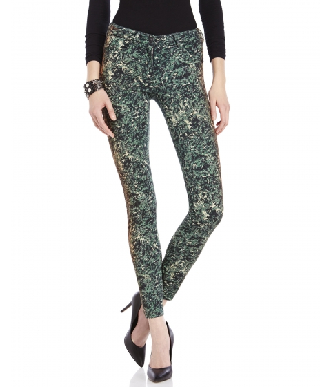 Imbracaminte Femei Maison Scotch Green Printed Skinny Jeans Green Multi