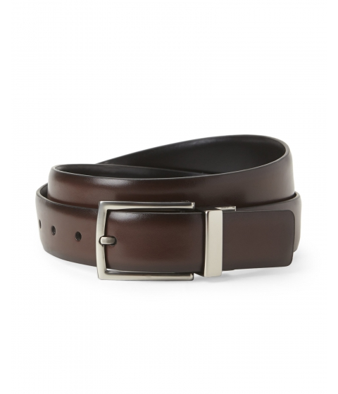 Accesorii Barbati Kenneth Cole Reaction Black Brown Glossy Reversible Belt Black Brown