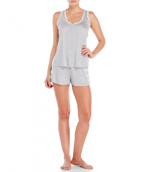 Imbracaminte Femei Jessica Simpson Ruffle Trim Pajama Set Heather Grey White